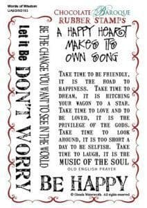 Chocolate Baroque Words of Wisdom Rubber Stamp Sheet